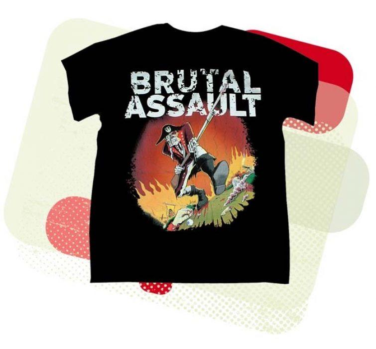 Brutal Assault. Černé triko s krátkým rukávem. Potisk, pirát na bojišti.